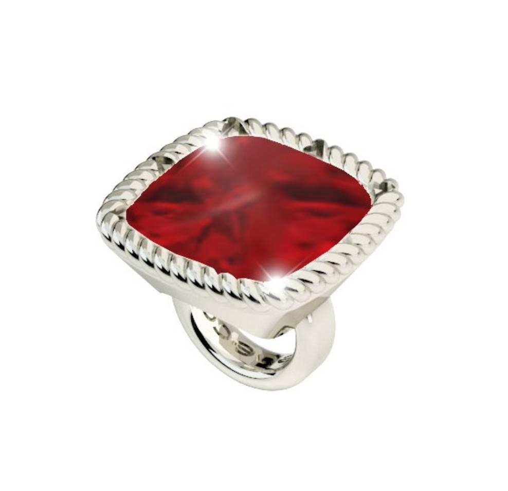 Rebecca Red Square Gemstone Charm, Silver