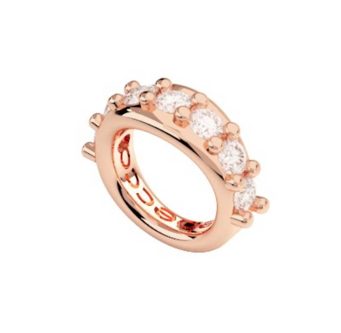 Rebecca Spacer Ring Crystals Charm, Rose Gold