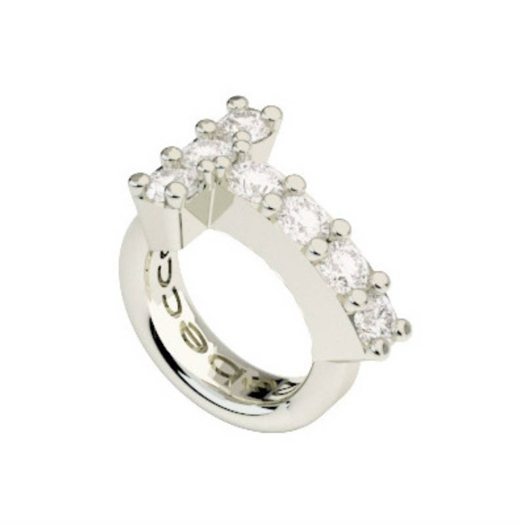 Crystal T Ring Charm, Silver