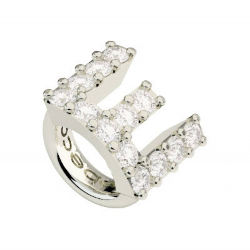 Crystal E Ring Charm, Silver