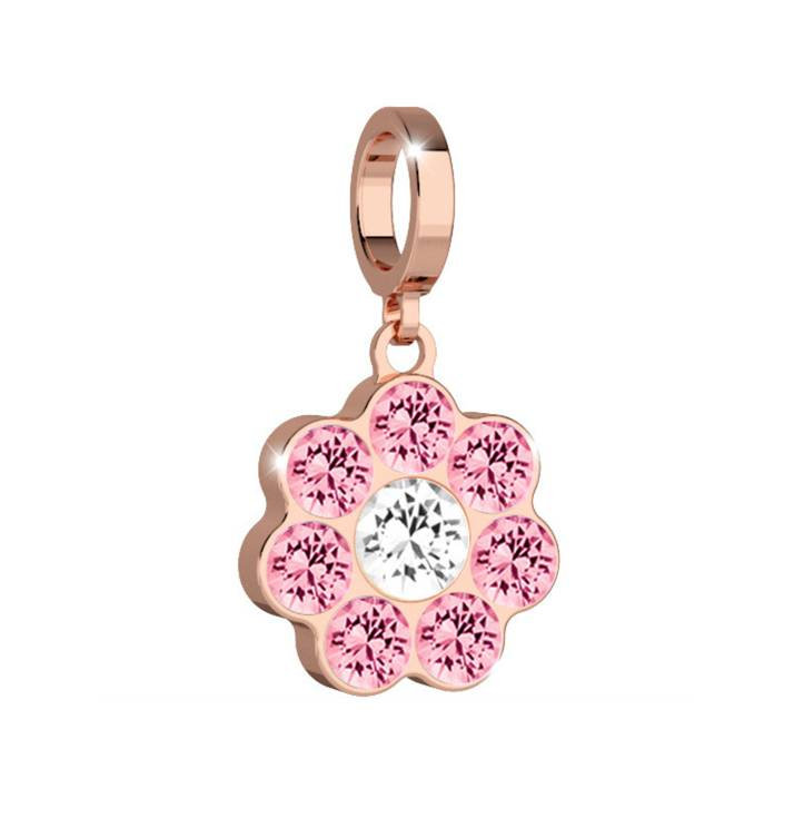 Rebecca Rose Gold Flower Charm with Pink Crystals