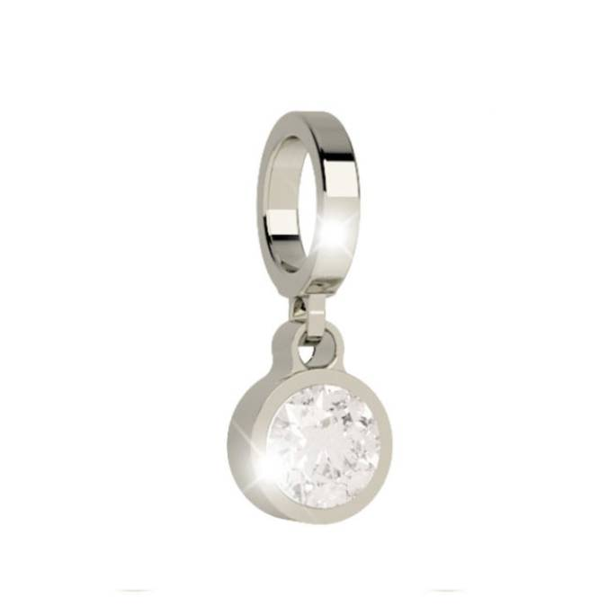 Rebecca Silver Pendant Charm with Crystal
