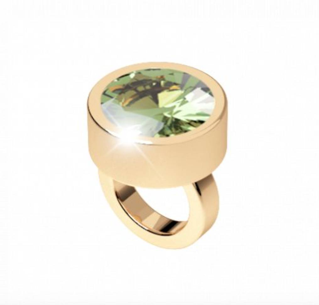 Rebecca Gold Ring Charm with Green Crystal