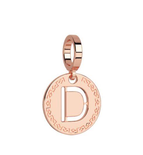 Rebecca Rose Gold Pendant Charm, Letter D