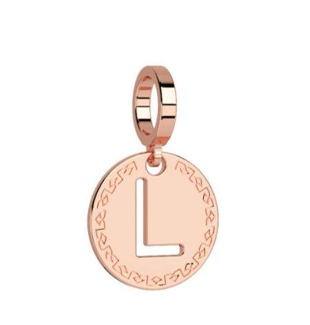 Rebecca Rose Gold Pendant Charm, Letter L