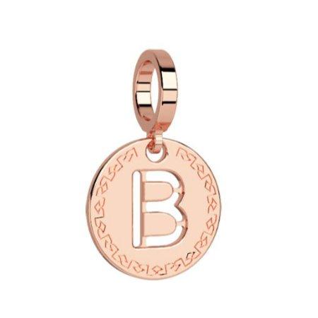 Rebecca Rose Gold Pendant Charm, Letter B