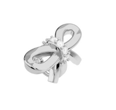 Rebecca Silk Bow Charm  with Stones, Steel