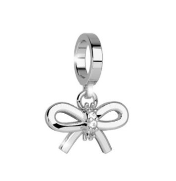 Rebecca Silver Silk Bow Pendant Charm with Stones