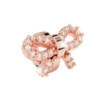 Rebecca Rose Gold Crystal Bow Charm