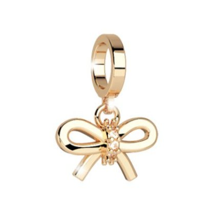 Rebecca Gold Silk Bow Pendant Charm with Stones