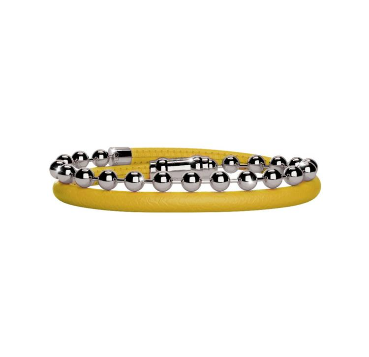 Rebecca Mustard Yellow Leather and Ball Bracelet