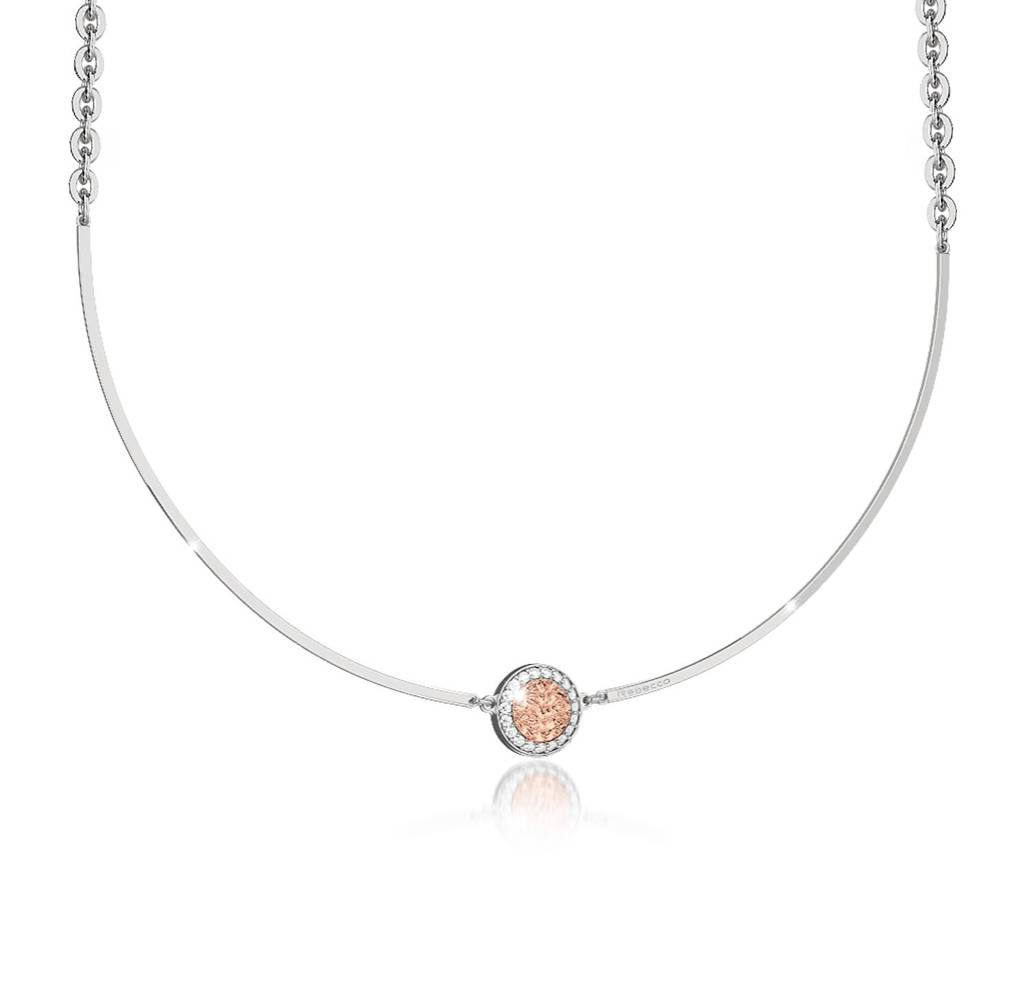 Rebecca Disc Bar Choker, Rose Gold
