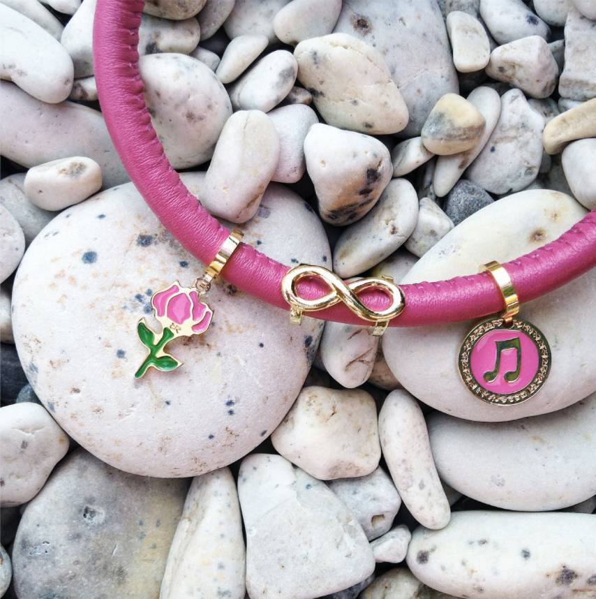 Rebecca Gold and Pink Enamel Rose Charm