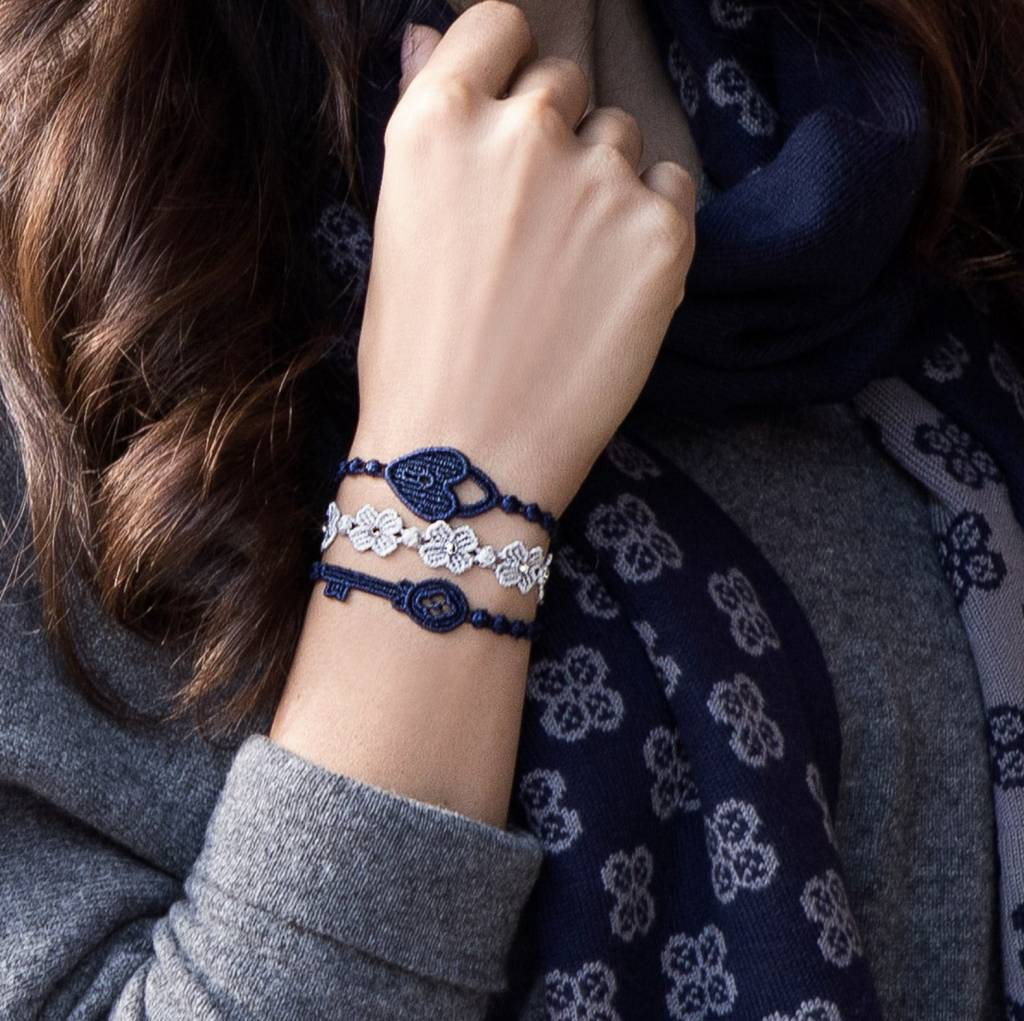 Cruciani Navy Lock and Key  Bracelets