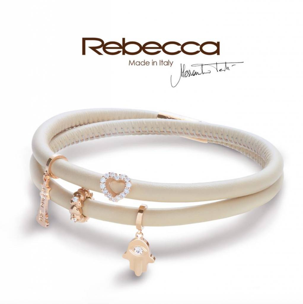 Rebecca Crystal Heart Charm, Gold
