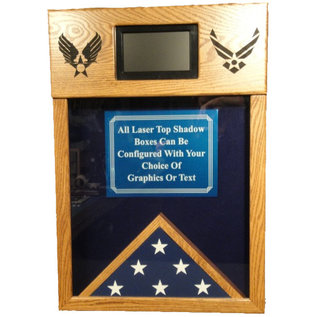 Morgan House Shadow Box with Laser Engraving on Top with Digital Screen..3x5 Flag Area