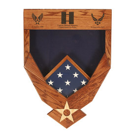 Morgan House Shadow Box in the shape of the Air Force Wings ..3x5 Flag Size & Laser area at the top of display.