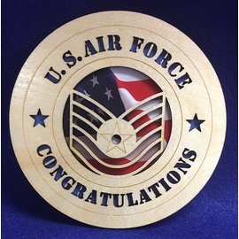 "Morgan House AF E-6 Congrats Medium Hanging wall tribute with picture underneath cutout area, 5.75"" circle area..."