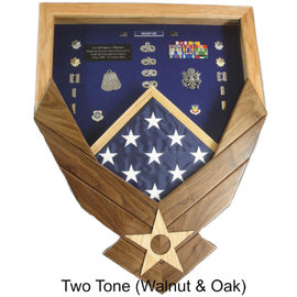 Morgan House Shadow Box in the shape of the Air Force Wings - Walnut Wings..3x5 Flag Size