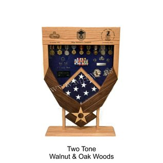 Morgan House Shadow Box in the shape of the Air Force Wings - Walnut Wings..3x5 Flag Size & Laser area at the top of display.