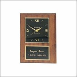 "CL25C-BK - Walnut Clock Award - black plate..9"" x 12"