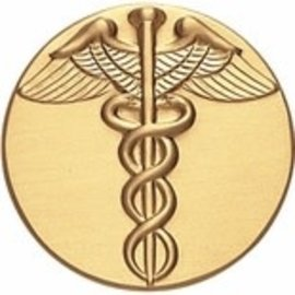 "2"" Metal Military Insert Disc- Caduceus (Gold)"