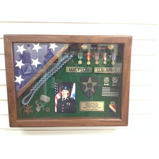 Morgan House Hanging Shadow Box with flag in corner