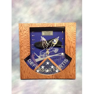 Morgan House MSB-DF Shadow Box in the shape of the SP Defensor Fortis Badge with a 3x5 flag