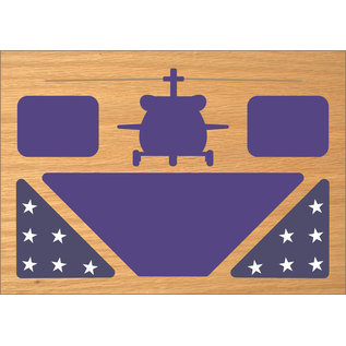 Morgan House Shadow Box in the shape of a HH60 BlackHawk..with (2) 3x5 Flag areas