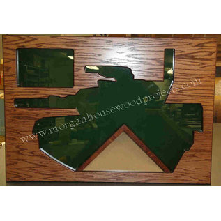 Morgan House Shadow Box in the shape of a M-1 Tank