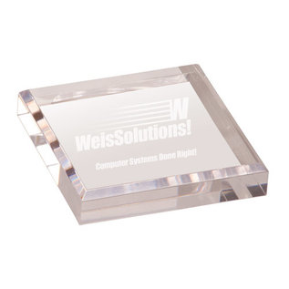 3 3/4  x 3 3/4  Clear Acrylic Paperweight