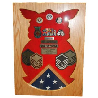 Morgan House Shadow Box in the shape of the Air Force Firefighter Badge with a 3x5 flag area
