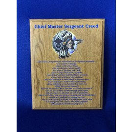 8 x 10 Chief Creed Plaque