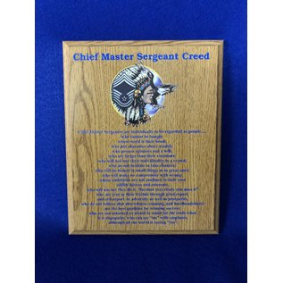 8 x 10 Chief Creed Plaque - Oak Finish