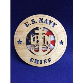 "Morgan House US Navy Chief Medium Hanging wall tribute with picture, 5.75"" circle area..."