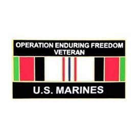 Operation Enduring Freedom Veteran United States Marine Corps with Ribbon Pin - 14553 (1 1/4 inch)
