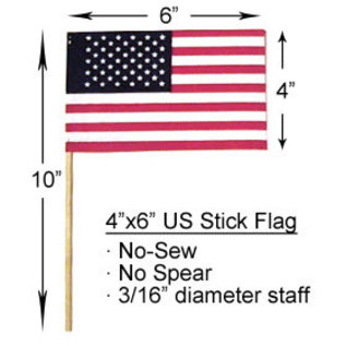 "4"" X 6"" US Stick Flag No-Sew"