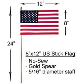 "8"" X 12"" US Stick Flag No-Sew..Sold individually"