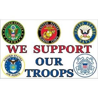 Support our Troops - 3x5 Nylon flag screen printed 1 sided