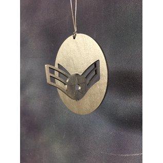 Morgan House Ornament - 3D Air Force Chevron - Silver