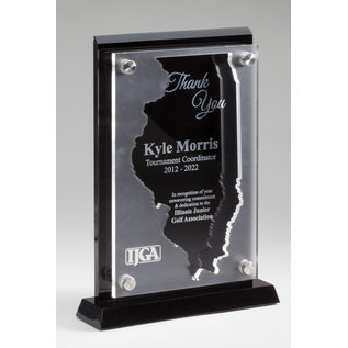 """State of Illinois Blk Acrylic Award w/ Blk Alum Eng Plate & Floating 1/4"""" Frosted Acrylic 3D - 8 3/4"""" X 6"""""""