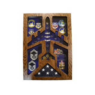 Morgan House Shadow Box in the shape of a KC-135 with a..3x5 Flag area