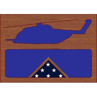 Morgan House Shadow Box in the shape of a MH-53 Pave Low Helicopter