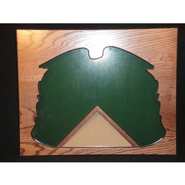 Morgan House Shadow Box in the shape of the Quartermaster Badge with a 3x5 flag area