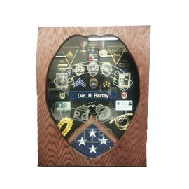 Morgan House Shadow Box in the shape of the Police Badge with a 3x5 flag area