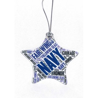 Navy Glass Star Ornament