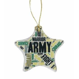 Army Glass Star Ornament