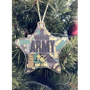 Army Glass Star Ornament