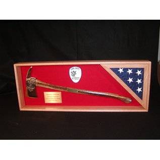 """Morgan House Fire Axe Display with chrome axe and flag area in corner..44""""L x 20""""H"""