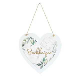"""WHITE COATED WOOD HEART HANG SIGN 8.46"""" X 8.58"""""""